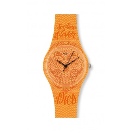 Ceas de mana unisex Swatch TIME NEVER DIES ORANGE GO110