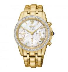 Ceas de mana dama Seiko auriu diamante solar SSC890